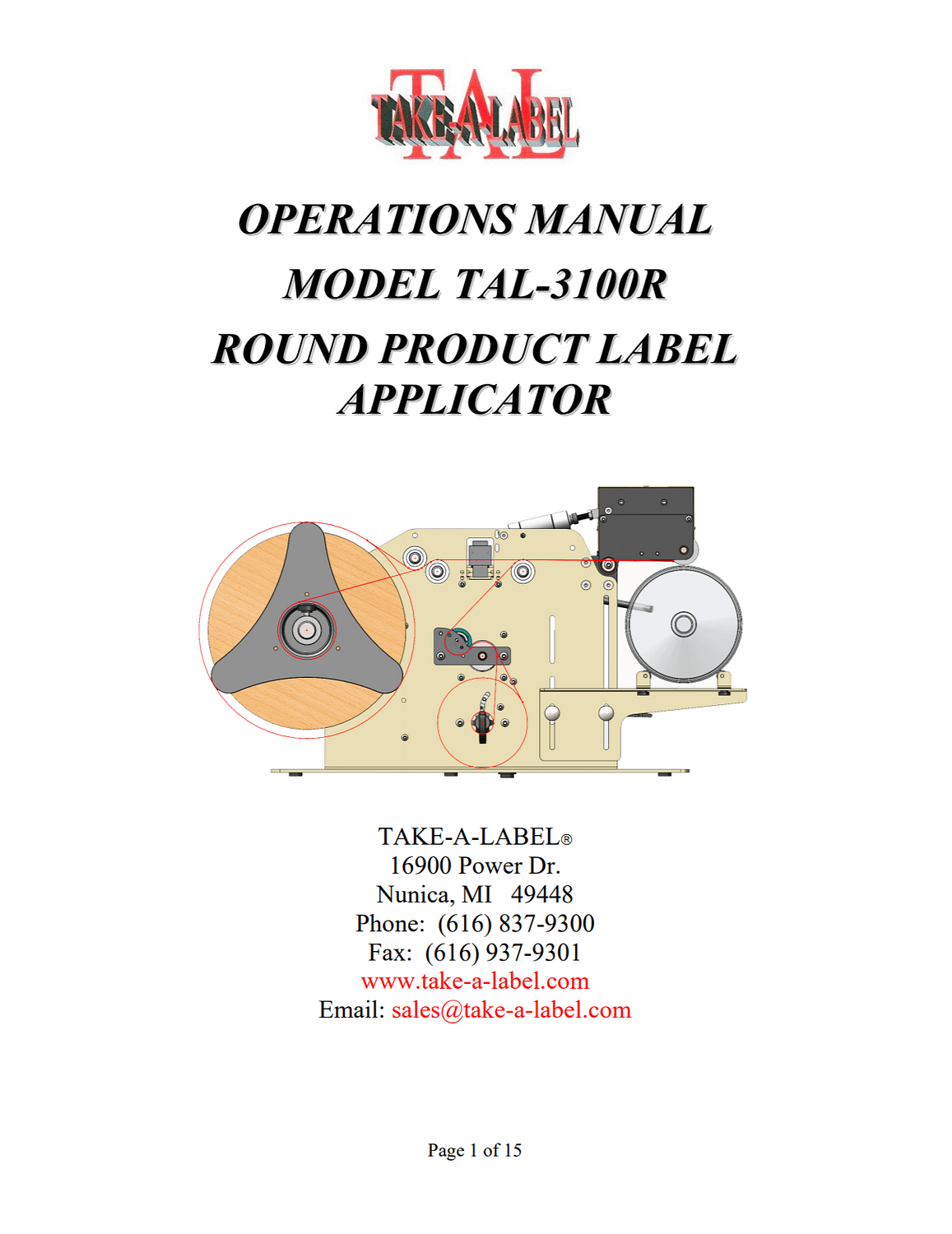 Take-A-Label TAL-3100R Semi-Auto Round Product Label Applicator Product Manual